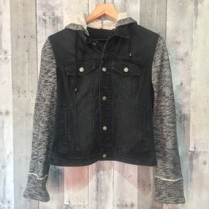 Black Rivet - Distressed Hoodie Denim Jacket